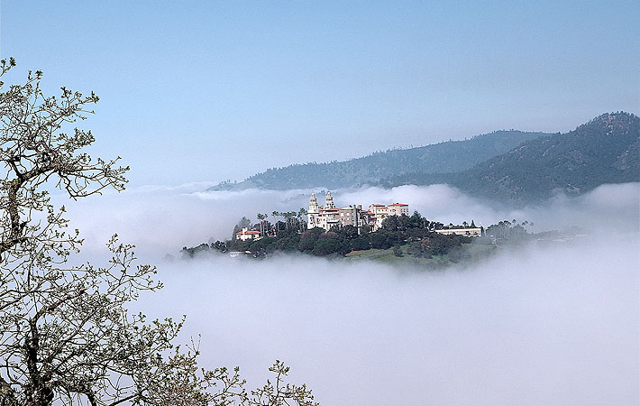Hearst Castle above the clouds on top of The Enchanted Hill